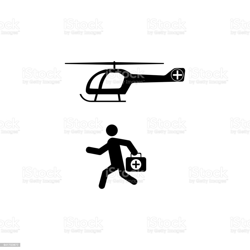 Medical Health helicopter Icon vector art illustration