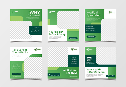 Medical health square banner for flyer and social media post template