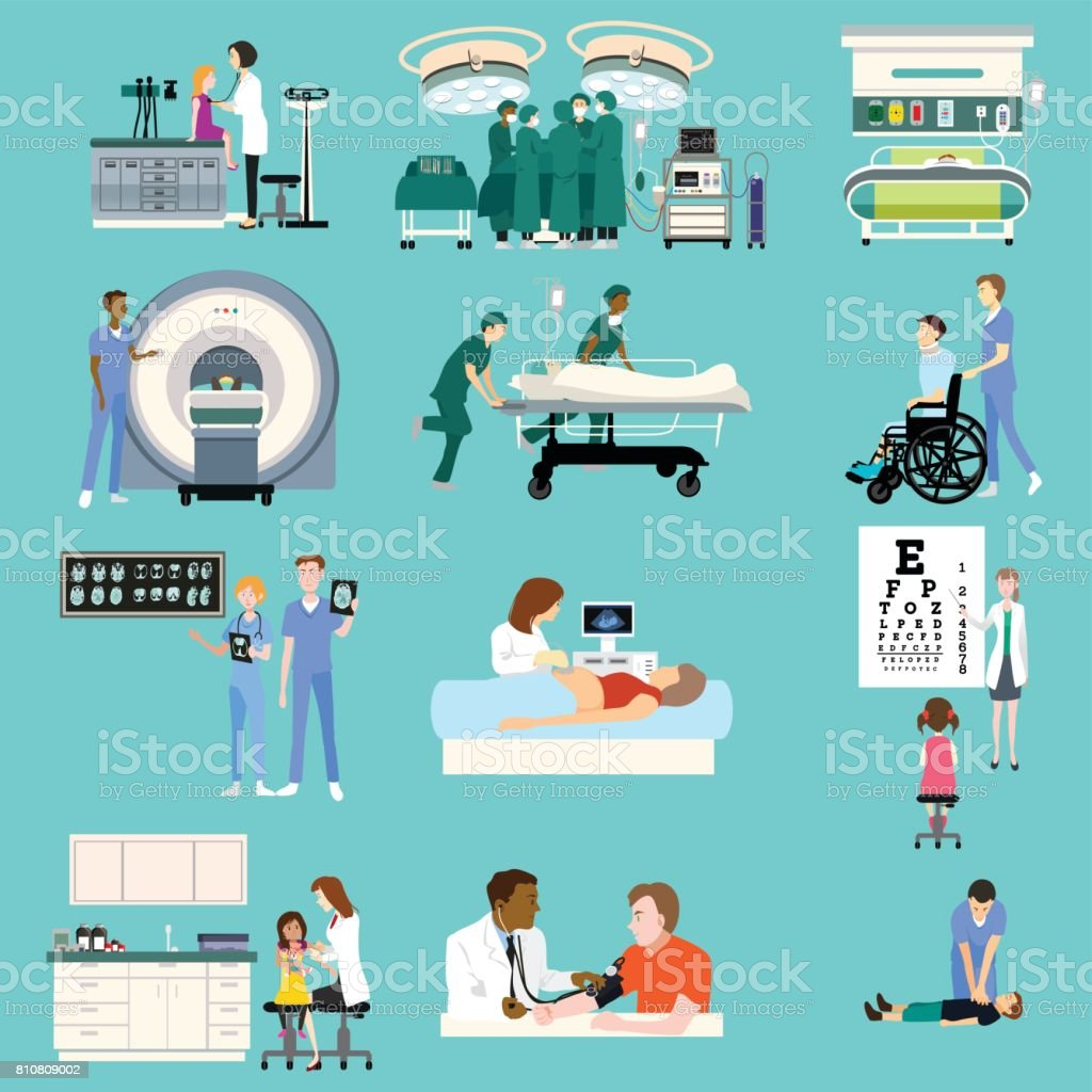Medical Healthcare Activities Cliparts vector art illustration