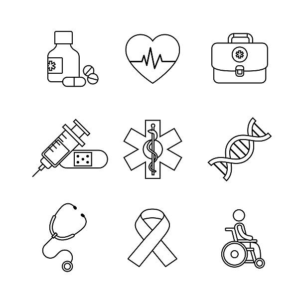Medical, healthcare and health awareness Thin line art icons set. Medical, healthcare and health awareness. Black vector symbols isolated on white. genomics stock illustrations