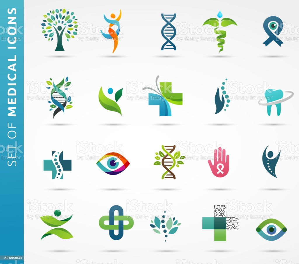 medical, healthcare and pharmacy icons vector art illustration