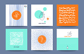 Healthcare, medicine, sport, fitness service cards template collection. Poster, flyer, banner, card, social media stories with hand drawn textures, thin line icons, geometric illustrations. Vector set.