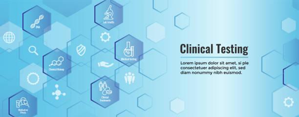 Medizinische medizinische Symbole w Banner Menschen Chart-Krankheit oder wissenschaftliche Entdeckung Web-Header – Vektorgrafik