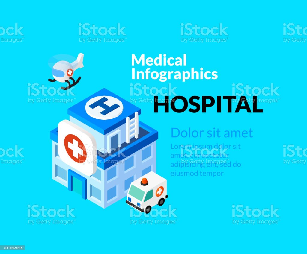 Medical healthcare infographic set with isometric flat icons, hospital concept vector art illustration