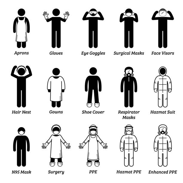 Medical healthcare PPE personal protection equipment gears. Vector artwork of man wearing gloves, eye goggles, face visor shield, hair net, gown,  respirator mask, surgical mask, N95, and hazmat suit. protective workwear stock illustrations