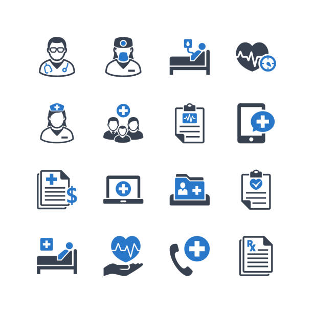 medical & healthcare services icons - bed stock illustrations