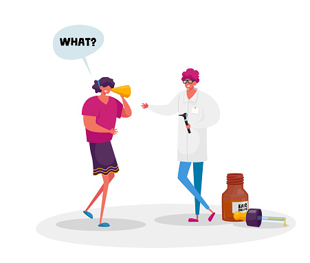 Medical Hear Exam, Female Character Hard of Hearing. Young Woman Suffering of Hearing Impairment Visiting Doctor for Appointment, Treatment or Impair Diagnosis. Cartoon People Vector Illustration