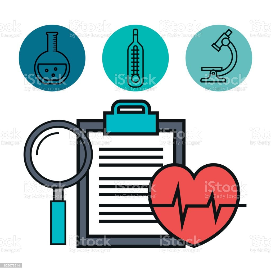 medical heartbeat clipboard and magnifier vector art illustration