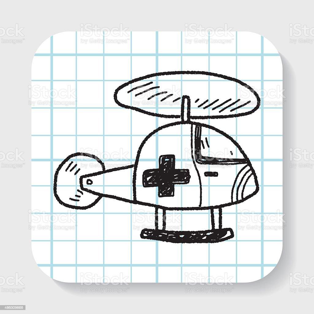 medical helicopter doodle vector art illustration
