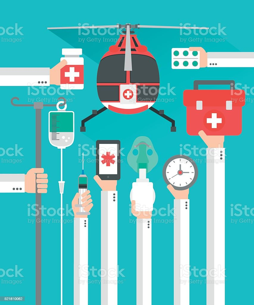 Medical helicopter flat design card with hand vector art illustration