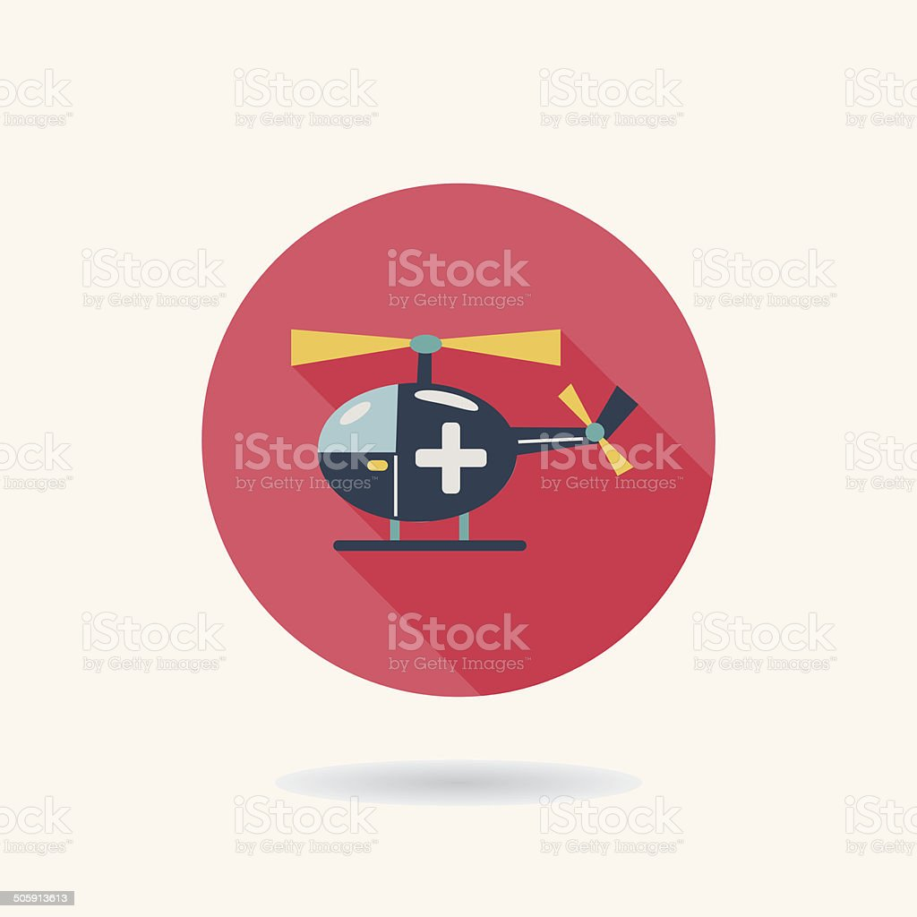 Medical helicopter flat icon with long shadow vector art illustration