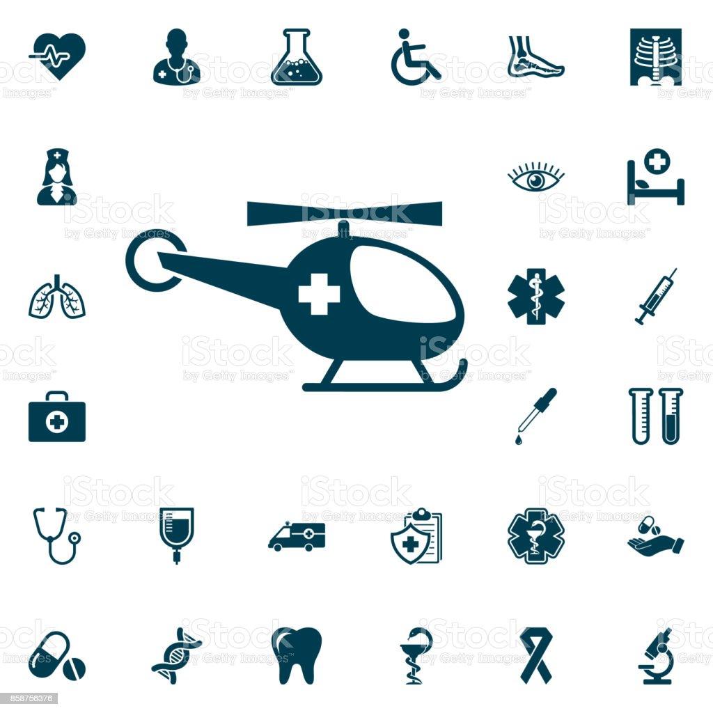 Medical helicopter, medical set on white background. Health Care Vector illustration vector art illustration
