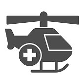istock Medical helicopter solid icon, Medical concept, emergency transport service sign on white background, Helicopter with cross icon in glyph style for mobile and web design. Vector graphics. 1282603976