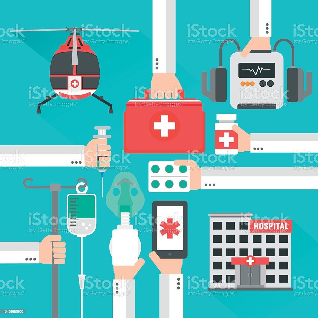 Medical helicopter,hospital flat design card with hand vector art illustration