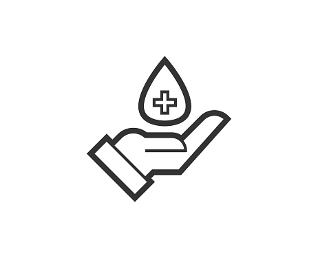 Medical help icon. Medical black line sign. Premium quality graphic design pictogram. Outline symbol icon for web design, website and mobile app on white background. Monochrome icon of cancer. Holidays line icon