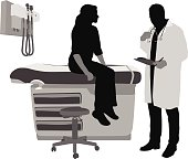A vector silhouette illustration of a doctor reviewing a patient's symptoms with her.