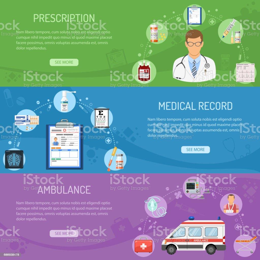 Medical horizontal banners vector art illustration