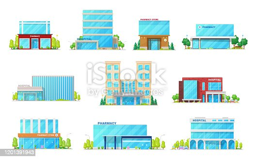 Hospital and pharmacy store, medical and healthcare building vector icons. Exteriors of health clinic, ambulance center, ambulatory and pharmacy with glass entrance doors and glossy facades
