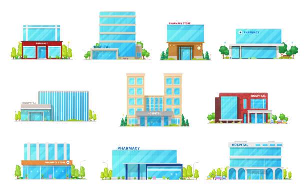 ilustraciones, imágenes clip art, dibujos animados e iconos de stock de iconos de edificios de hospitales médicos y farmacias - hospital