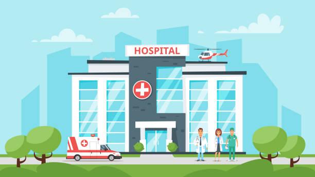 bildbanksillustrationer, clip art samt tecknat material och ikoner med medicinsk sjukhusbyggnaden - hospital
