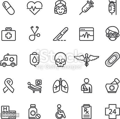 Medical Hospital Care Clinic Emergency Line icons