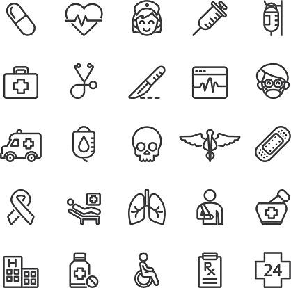 Medical Hospital Care Clinic Emergency Line icons   EPS10