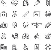 istock Medical Hospital Care Clinic Emergency Line icons | EPS10 586935416