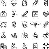 Medical Hospital Care Clinic Emergency Line icons | EPS10