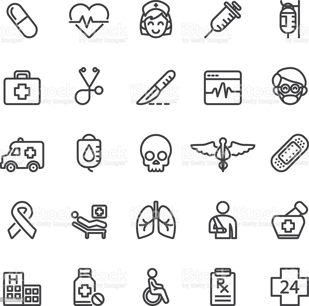 Medical Hospital Care Clinic Emergency Line icons | EPS10 vector art illustration