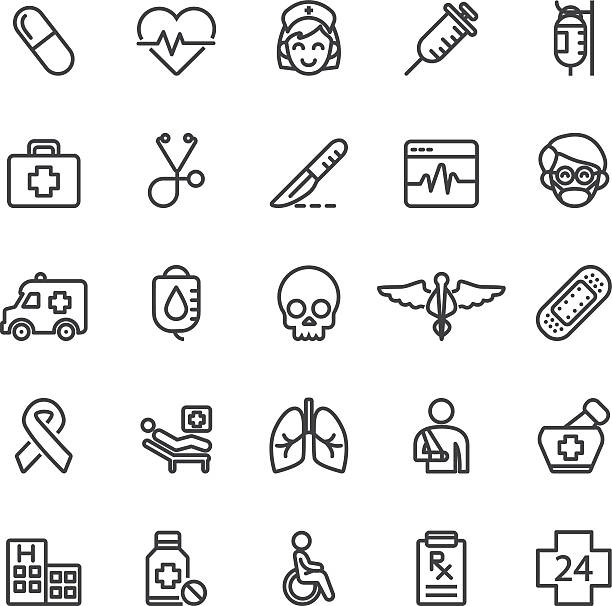 medical hospital care clinic emergency line icons | eps10 - medizinexamen stock-grafiken, -clipart, -cartoons und -symbole
