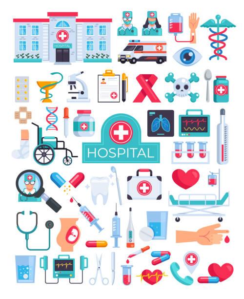 Krankenhaus Klinik Notfallchirurgie Diagnose Design grafische flache Cartoon-Icon-Elemente Illustration Set – Vektorgrafik
