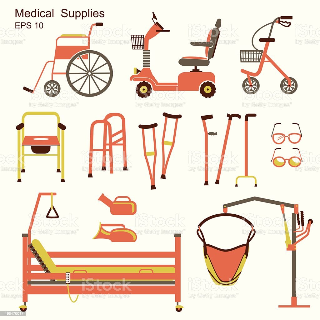 medical hospital equipment for disabled people vector art illustration