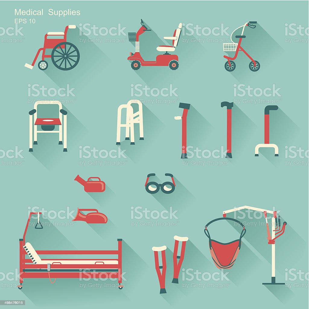 medical hospital equipment for disabled people.Vector illustration vector art illustration