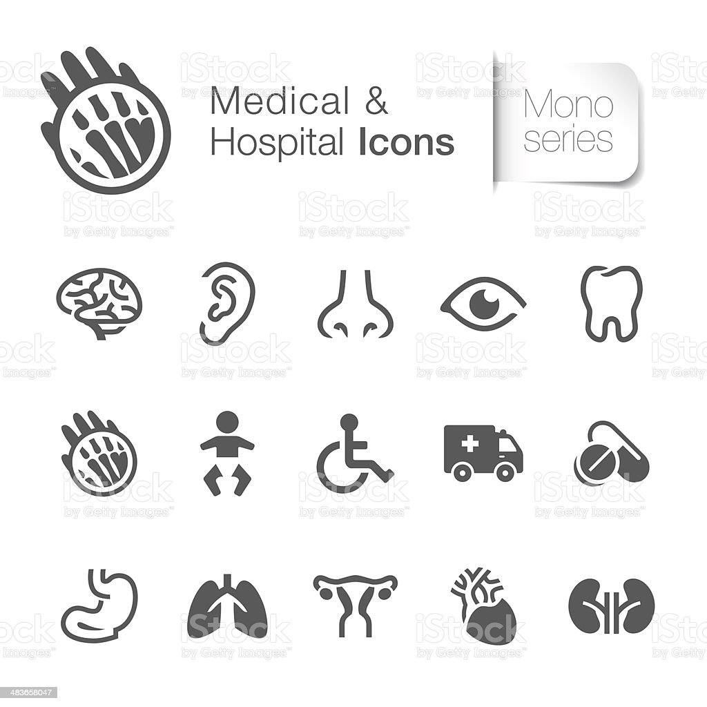 Medical & hospital related icon vector art illustration