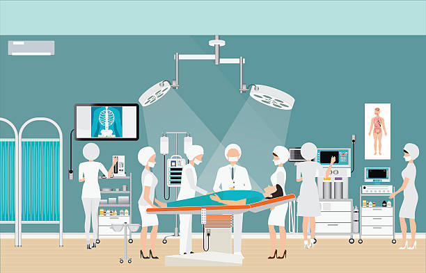 stockillustraties, clipart, cartoons en iconen met medical hospital surgery operation room interior. - ventilator bed