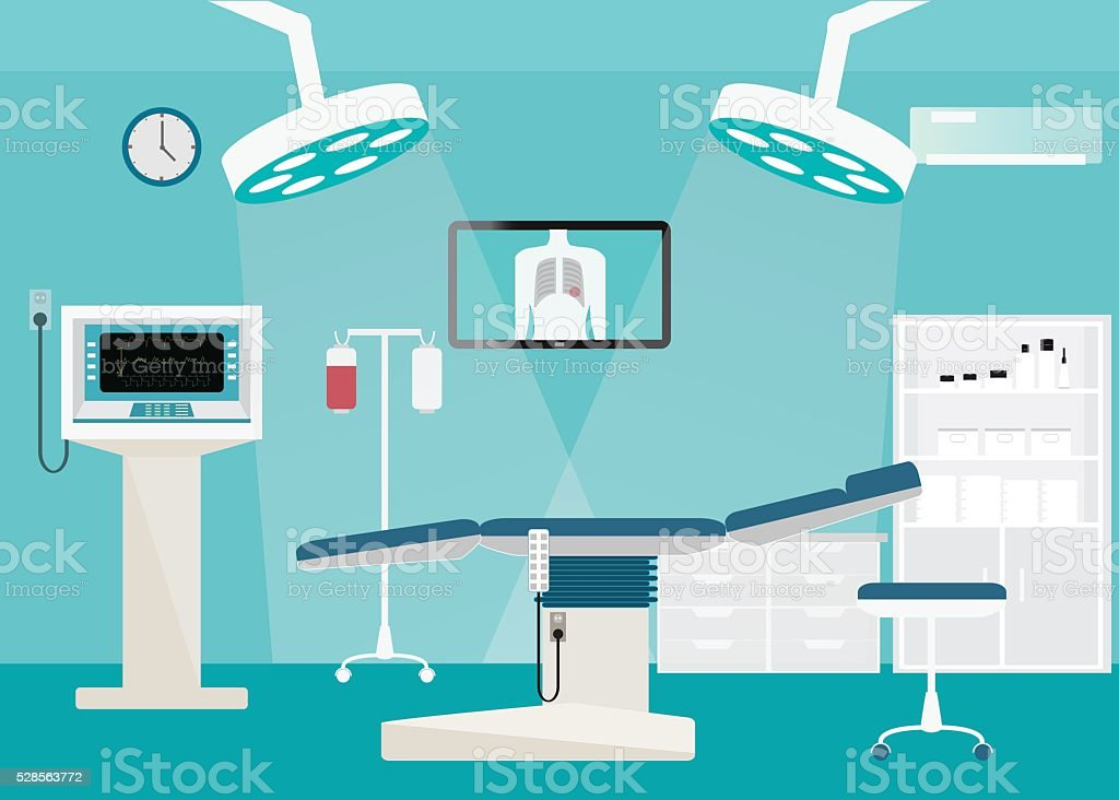 Medical hospital surgery operation room. vector art illustration