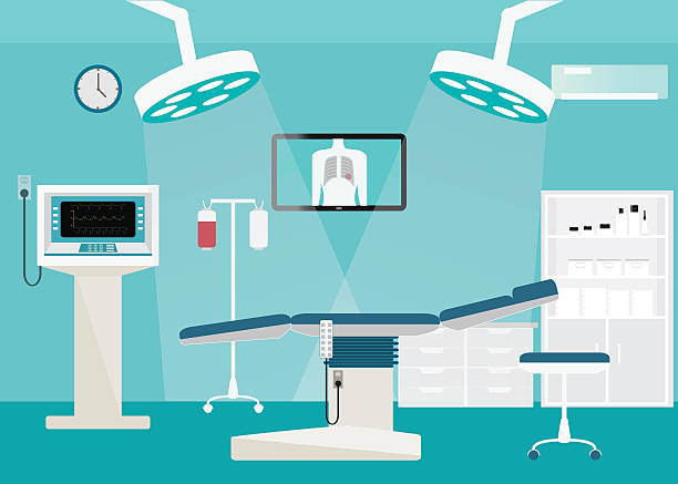 medical hospital surgery operation room. - medical equipment stock illustrations, clip art, cartoons, & icons