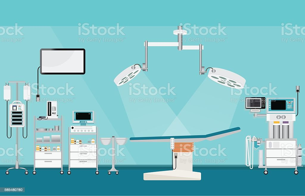 Medical hospital surgery operation with medical equipment. vector art illustration