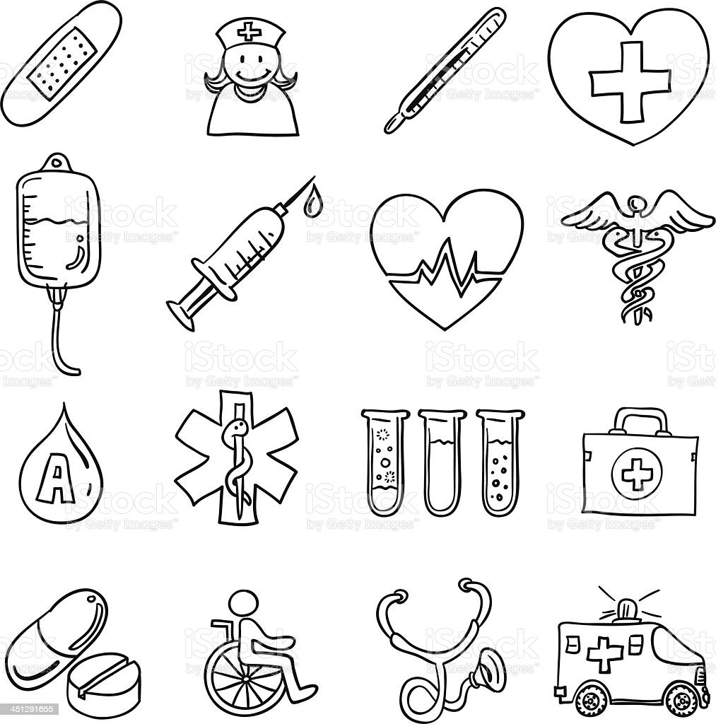 Medical icon in black and white royalty-free stock vector art