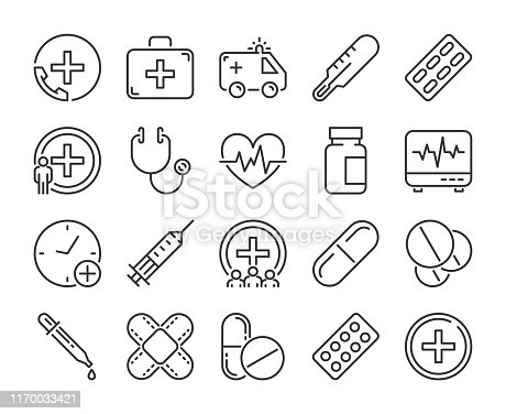 Medical icon. Medicine and Health line icons set. Vector illustration