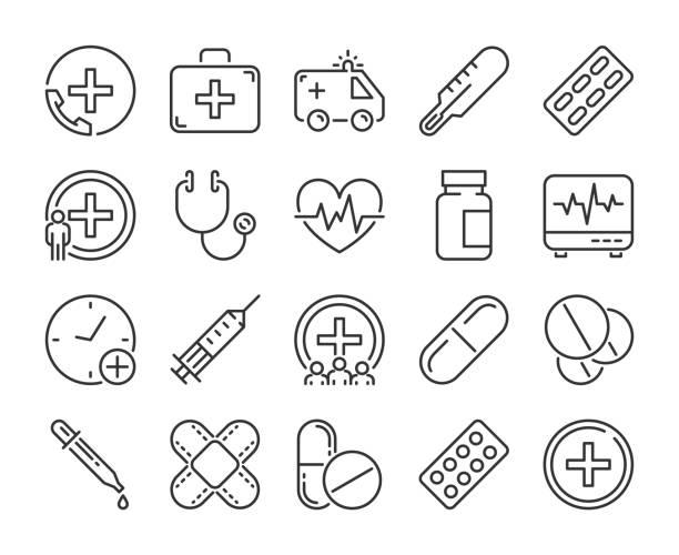 bildbanksillustrationer, clip art samt tecknat material och ikoner med medicinsk ikon. medicin och hälsa linje ikoner set. vektor illustration. - medicinsk undersökning
