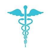 Medical icon. Minimal flat blue caduceus symbol on white backgro