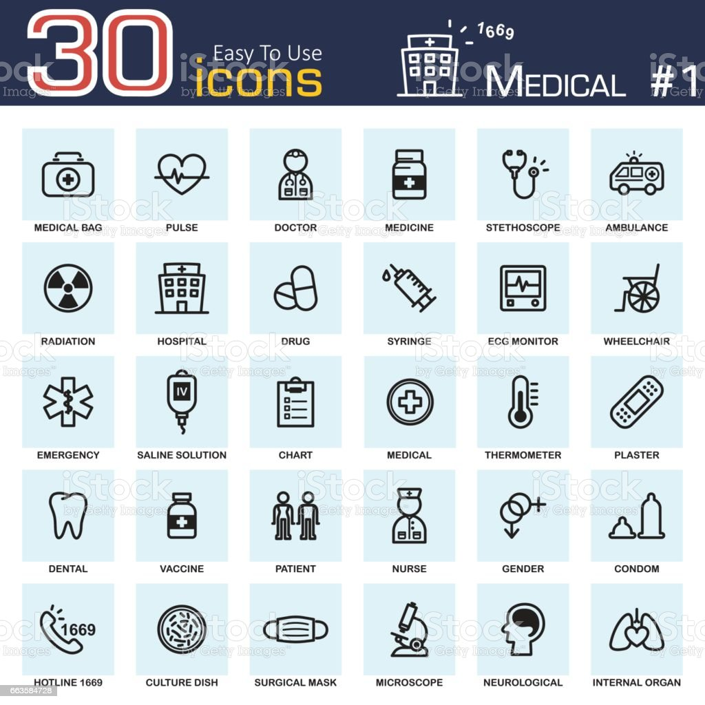 Medical icon set 1 . outline style . vector art illustration