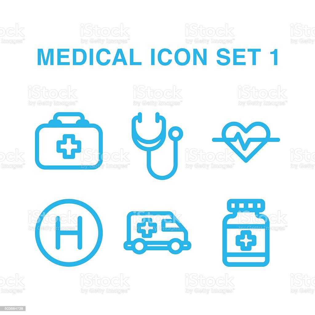 medical Icon Set 1 vector art illustration