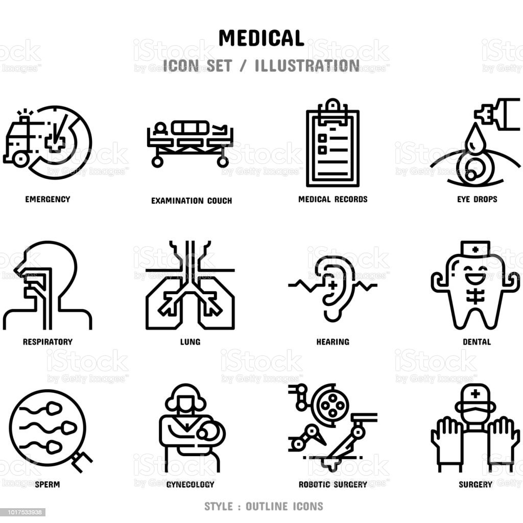 Medical Icon Set, 12 icons for web design and vector illustration vector art illustration