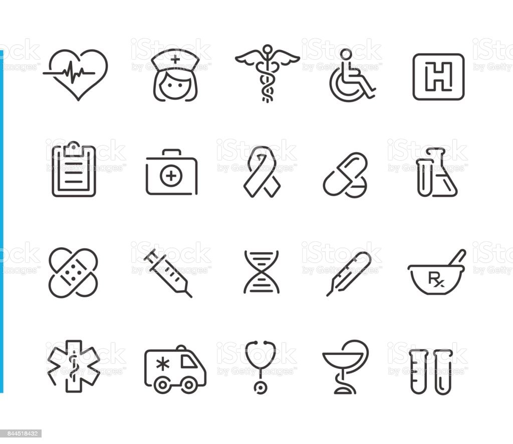 Medical Icon Set // Blue Line Series - Royalty-free AIDS stock vector