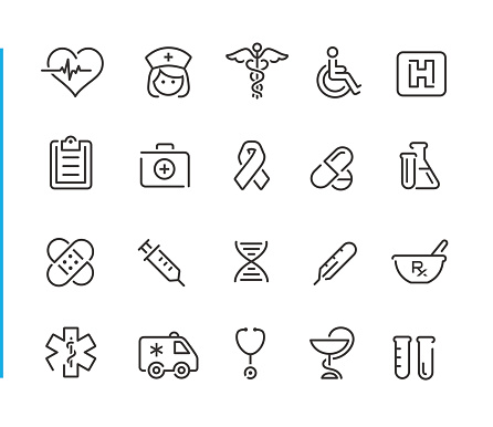 Medical Icon Set // Blue Line Series clipart