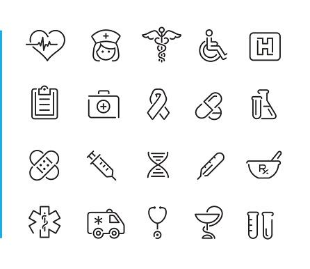 Medical Icon Set Blue Line Series - Stockowe grafiki wektorowe i więcej obrazów AIDS