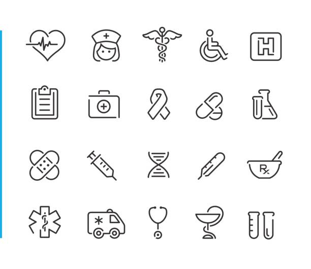 medical icon set // blue line series - health stock illustrations