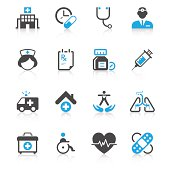 Set of 16 medical vector icons.